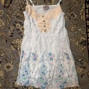 Cute Free People Polka Dot Floral Lace Tunic Dress